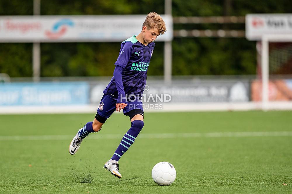 ALPHEN AAN DEN RIJN, NETHERLANDS - OCTOBER 2: #2 Jari Horsten (PSV) during the Divisie 1 A NAJAAR u15 match between Alphense Boys and PSV at Sportpark De Bijlen on October 2, 2021 in Alphen aan den Rijn, Netherlands