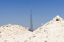 View of Burj Khalifa tower from a construction site in the desert in DubaiUnited Arab Emirates