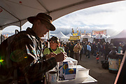Randall Paul Smith signs up for a raffle at the AARP Block Party at the Albuquerque International Balloon Fiesta in Albuquerque New Mexico USA on Oct. 7th, 2018.
