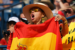August 12, 2018 - Toronto, ON, U.S. - TORONTO, ON - AUGUST 12: A fan cheers on Rafael Nadal (ESP) during the Rogers Cup tennis tournament Final on August 12, 2018, at Aviva Centre in Toronto, ON, Canada. (Photograph by Julian Avram/Icon Sportswire) (Credit Image: © Julian Avram/Icon SMI via ZUMA Press)