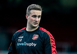 Jarryd Sage of Dragons during the pre match warm up<br /> <br /> Photographer Simon King/Replay Images<br /> <br /> Guinness PRO14 Round 12 - Dragons v Ospreys - Sunday 30th December 2018 - Rodney Parade - Newport<br /> <br /> World Copyright © Replay Images . All rights reserved. info@replayimages.co.uk - http://replayimages.co.uk