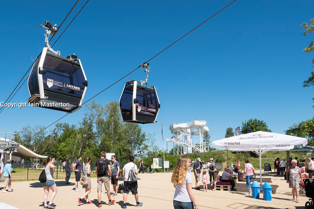 Cable cars and visitors at IGA 2017 International Garden Festival (International Garten Ausstellung) in Berlin, Germany