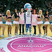 Anadolu Efes's show girls during their Turkish Airlines Euroleague Basketball Group A Round 1 match Anadolu Efes between Unics Kazan at Abdi ipekci arena in Istanbul, Turkey, Thursday, October 16, 2014. Photo by Aykut AKICI/TURKPIX