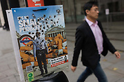City of London (corporation) anti-butts litter campaign with burn holes from stubbed out cigarettes. The campaign encourages smokers to bin their butts and help clean up London's Square Mile. The City of London Corporation, in partnership with Keep Britain Tidy, launched the initiative aimed at reducing the number of cigarette butts littering the City's streets. 'It's no small problem…' is designed to illustrate to smokers that, although each cigarette butt is small, in total more than SIX MILLION BUTTS are dropped each year the City contributing significantly to the £3.8million bill to clean its streets every year.