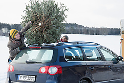 Young couple tying the christmas tree on car roof, Bavaria, Germany