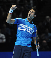 Tennis - 2019 Nitto ATP Finals at The O2 - Day Three<br /> <br /> Singles Group Bjorn Borg: Novak Djokovic (Serbia) vs.Domininic Thiem (Austria)<br /> <br /> Novak Djokovic celebrates his first set<br /> <br /> COLORSPORT/ANDREW COWIE