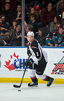 KELOWNA, CANADA - MARCH 16: Dallas Hines #2 of the Vancouver Giants skates with the puck against the Kelowna Rockets  on March 16, 2019 at Prospera Place in Kelowna, British Columbia, Canada.  (Photo by Marissa Baecker/Shoot the Breeze)