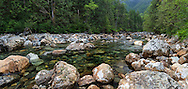 Gold Creek winds through the trees and rocks at Golden Ears Provincial Park in Maple Ridge, British Columbia, Canada.
