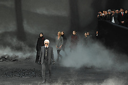 Designer Karl Lagerfeld after Chanel Fall-Winter 2011/2012 Ready-to-Wear collection show held at Le Grand Palais, in Paris, France on March 8, 2011. Photo by Thierry Orban/ABACAPRESS.COM