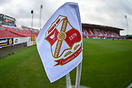 Swindon Town corner flag during the The FA Cup 2nd round match between Swindon Town and Woking at the County Ground, Swindon, England on 2 December 2018.