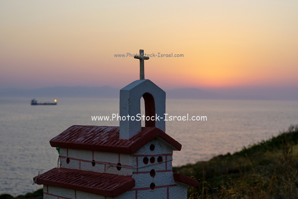 A small church overlooking the Mediterranean Sea outside the city of Chania, Crete, Greece