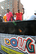 September 16, 2012- Harlem, New York: Hip Hop Recording Artist Dougie Fresh at the 42nd Annual African American Day Parade held along Adam Clayton Blvd on September 16, 2012 in Harlem New York City. The first African American Day Parade was held in September 1969 in Harlem. The first Grand Marshal was Congressman Adam Clayton Powell, Jr. The purpose of the parade is to provide an opportunity for African people to join together on a Special Day to highlight history and salute African people throughout America and the world for their outstanding achievements. (Terrence Jennings)
