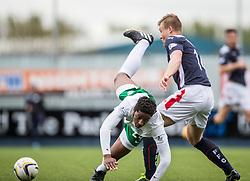 Hibernian's Dominique Malonga and Falkirk's Peter Grant. <br /> Falkirk 0 v 3 Hibernian, Scottish Championship game played at The Falkirk Stadium 2/5/2015.