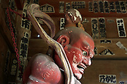 Nio guardian protector Agyo in the entrance gate to the Sugimotodera Temple in Kamakura Japan