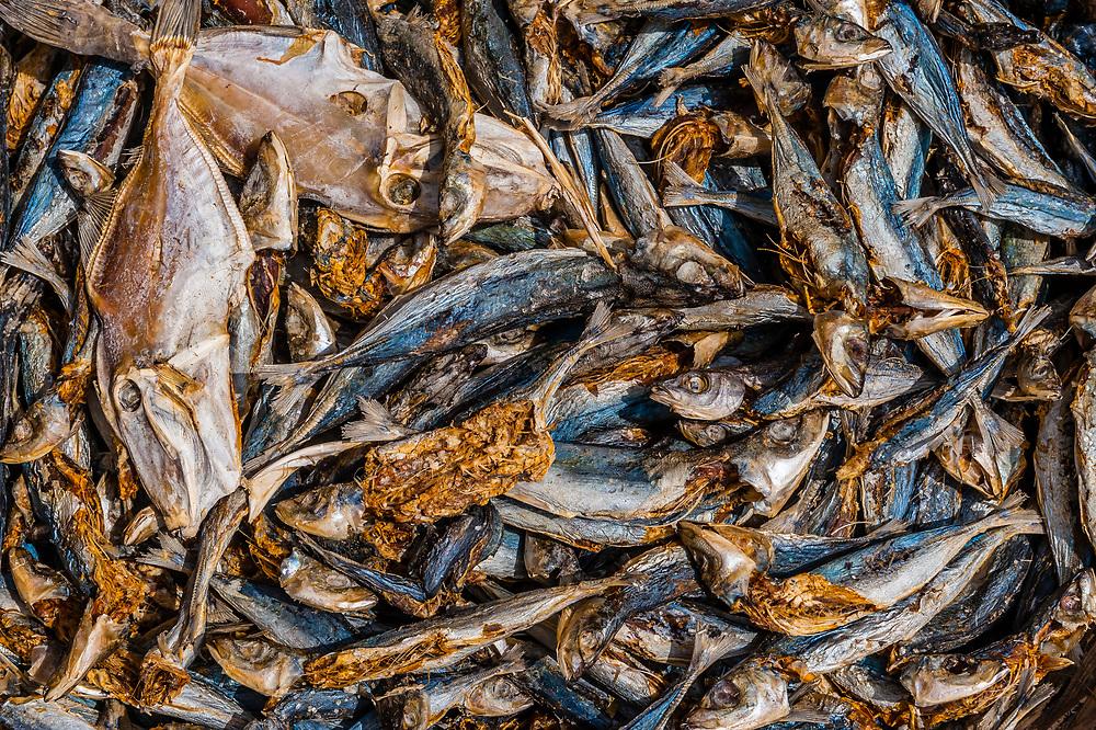 Dried fish for sale at a roadside market, Trincomalee, Sri Lanka.
