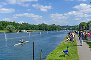 """Henley on Thames, United Kingdom, 22nd June 2018, Friday,   """"Henley Women's Regatta"""",  General view,  Competitors, Rowing-Sculling, Training, Henley Reach, Thames Valley,  River Thames, England, © Peter SPURRIER"""