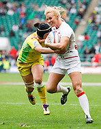 Photo by Andrew Tobin/Tobinators Ltd. Michaela Staniford of England in action from the IRB London Rugby 7s tournament held at Twickenham Stadium, London on 12th May 2013. New Zealand won the tournament beating Australia in the final, and also won the overall 2012/13 series.