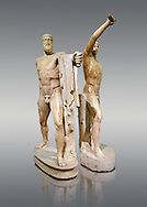 2nd century AD Roman marble sculpture of Harmodius (inv 6009) and Aristogeiton (inv 6010) known as the Tyrannicide group, inv 6307, a Roman copy of an early classical period Geek original, Naples Museum of Archaeology, Italy.<br /> <br /> If you prefer to buy from our ALAMY STOCK LIBRARY page at https://www.alamy.com/portfolio/paul-williams-funkystock/greco-roman-sculptures.html . Type -    Naples    - into LOWER SEARCH WITHIN GALLERY box - Refine search by adding a subject, place, background colour, etc.<br /> <br /> Visit our ROMAN WORLD PHOTO COLLECTIONS for more photos to download or buy as wall art prints https://funkystock.photoshelter.com/gallery-collection/The-Romans-Art-Artefacts-Antiquities-Historic-Sites-Pictures-Images/C0000r2uLJJo9_s0