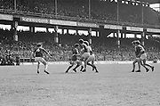 Players challenge each other for possession during the All Ireland Senior Gaelic Football Championship Final Dublin V Galway at Croke Park on the 22nd September 1974. Dublin 0-14 Galway 1-06.