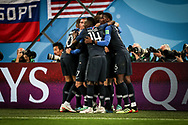 Samuel Umtiti of France celebrates after his goal with teammates during the 2018 FIFA World Cup Russia, Semi Final football match between France and Belgium on July 10, 2018 at Saint Petersburg Stadium in Saint Petersburg, Russia - Photo Thiago Bernardes / FramePhoto / ProSportsImages / DPPI