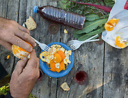 Oranges, chards and wine. Simple lunch after picking vegetables with Manolis in Spili village.