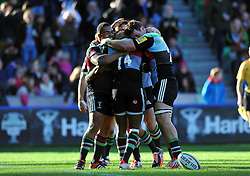 Harlequins players celebrate Marland Yarde's try, their team's seventh try of the afternoon - Photo mandatory by-line: Patrick Khachfe/JMP - Mobile: 07966 386802 04/10/2014 - SPORT - RUGBY UNION - London - The Twickenham Stoop - Harlequins v London Welsh - Aviva Premiership