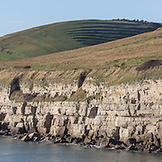 East man with medieval  strip lynchets above Seacombe cliff, Dorset.