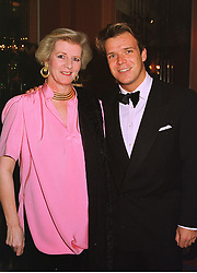 Leading businerss woman MRS JENNIFER d'ABO and her son MR JOEL CADBURY, at a reception in London on 28th October 1998.MLH 6