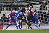 Goal chance during the Sky Bet Championship match between Cardiff City and Brighton and Hove Albion at the Cardiff City Stadium, Cardiff, Wales on 10 February 2015.