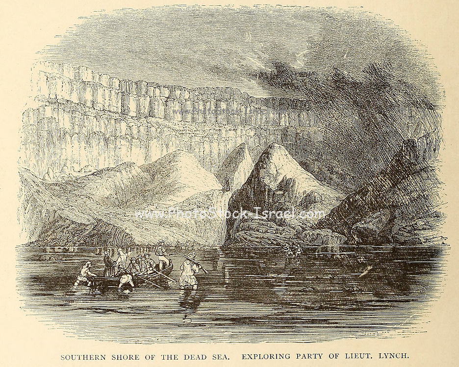 Southern Shore of the Dead Sea. Exploring party of Lieutenant Lynch From the book 'Those holy fields : Palestine, illustrated by pen and pencil' by Manning, Samuel, 1822-1881; Religious Tract Society (Great Britain) Published in 1874