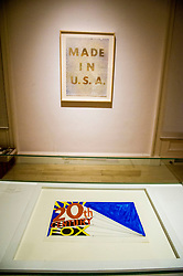 Pictured: Made in USA (1974) and Trademark number 5 (1962)<br /> Ed Ruscha exhibition. Titled, Music from the Balconies, it is the artist's first exhibition at the gallery for a decade<br /> <br /> <br /> Ger Harley | EEm 28 Aprl 2017