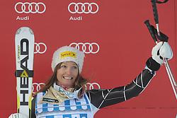 08.12.2012, Engiadina Rennstrecke, St. Moritz, SUI, FIS Ski Alpin Weltcup, Super G, Podium, Damen, im Bild Julia Mancusa (USA) waehrend der Siegerehrung, on Podium // after ladies Super G of FIS ski alpine world cup at the Engiadina course, St. Moritz, Switzerland on 2012/12/08. EXPA Pictures © 2012, PhotoCredit: EXPA/ Freshfocus/ Andreas Meier..***** ATTENTION - for AUT, SLO, CRO, SRB, BIH only *****