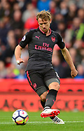 Nacho Monreal of Arsenal in action. Premier league match, Stoke City v Arsenal at the Bet365 Stadium in Stoke on Trent, Staffs on Saturday 19th August 2017.<br /> pic by Bradley Collyer, Andrew Orchard sports photography.