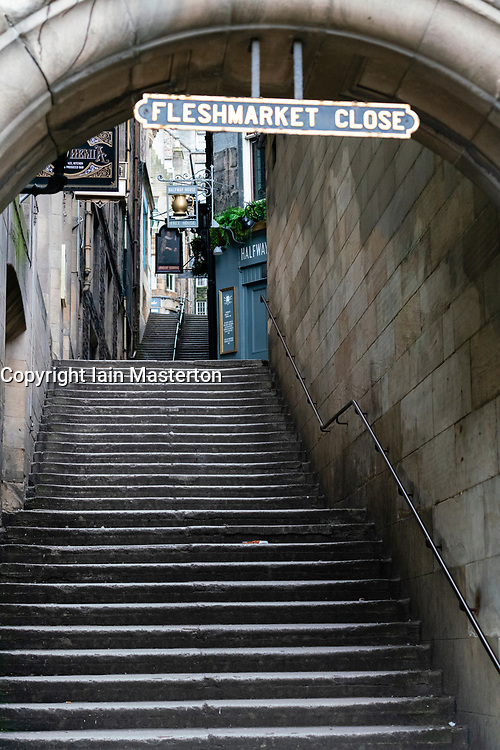 Edinburgh, Scotland, UK. 24 March, 2020.  Fleshmarket Close in the Old Town is deserted.  All shops and restaurants are closed with very few people venturing outside following the Government imposed lockdown today.  Iain Masterton/Alamy Live News