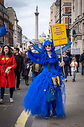 The EU flag flying in all shapes and forms at the Put It To The People march for a Peoples Vote on 23rd March 2019 in London, United Kingdom. With less than one week until the UK is supposed to be leaving the European Union, the final result still hangs in the balance and protesters gathered in their hundreds of thousands to make political leaders take notice and to give the British public a vote on the final Brexit deal.