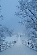 Snow on Deai Bridge in Shirakawa-go, Japan