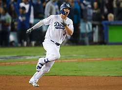 October 31, 2017 - Los Angeles, California, United States - Los Angeles Dodgers center fielder JOC PETERSON #31 celebrates after hitting a solo homer in the 7th inning. The Los Angeles Dodgers played the Houston Astros in game 6 of the World Series at Dodger Stadium. (Credit Image: © John Mccopy/Los Angeles Daily News via ZUMA Wire)