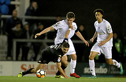 """Wigan's Sam Morsy (left) holds off Fylde's Sam Finley during the Emirates FA Cup second round match at Mill Farm, Flyde. PRESS ASSOCIATION Photo Picture date: Friday December 1, 2017. See PA story SOCCER Flyde. Photo credit should read: Richard Sellers/PA Wire. RESTICTIONS: EDITORIAL USE ONLY No use with unauthorised audio, video, data, fixture lists, club/league logos or """"live"""" services. Online in-match use limited to 75 images, no video emulation. No use in betting, games or single club/league/player publications."""
