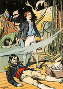 'Casabianca' (The boy stood on the burning deck/Whence all but he had fled). At the Battle of the Nile (1798) Giocante, the 12-year old son of Luce Julien Joseph Casabianca, remained at his post on the deck of his father's burning vessel  L'Orient, the French flagship. He perished when the fire reached the magazine and the ship exploded.The event was marked by the English poet Felicia Dorothea Hemans (1793-1835). Print, c1913.