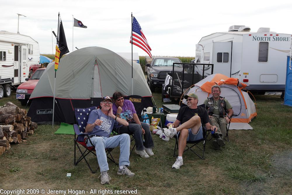 Vietnam Veterans relax at their campsite. Vietnam Veterans gather in Kokomo, Indiana for the 2009 reunion.