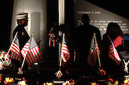 Washingtonville, N.Y. - People gather at the Washingtonville 5 Firefighters World Trade Center Memorial after a candlelight service on Sept. 11, 2008. The Memorial was built in honor of five FDNY firefighters from Washingtonville and the many others who lost their lives on September 11, 2001 in the World Trade Center terrorist attack.