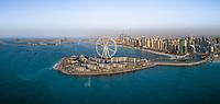 Panoramic aerial view of the Ferris wheel on Bluewaters island in Dubai, U.A.E.