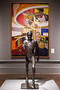 The Running Man, 1978, by Dame Elizabeth Frink and Mirror, 1966, by Frank Bowling - The Great Spectacle runs concurrently to the Summer Exhibition and tells the story of the annual show by featuring highlights from the past 250 years.