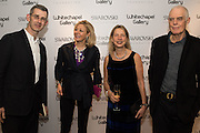 EDMUND DE WAAL, NADJA SWAROVSKI,  IWONA BLAZWICK and RICHARD LONG at the Whitechapel Gallery Art Icon 2015 Gala dinner supported by the Swarovski Foundation. The Banking Hall, Cornhill, London. 19 March 2015