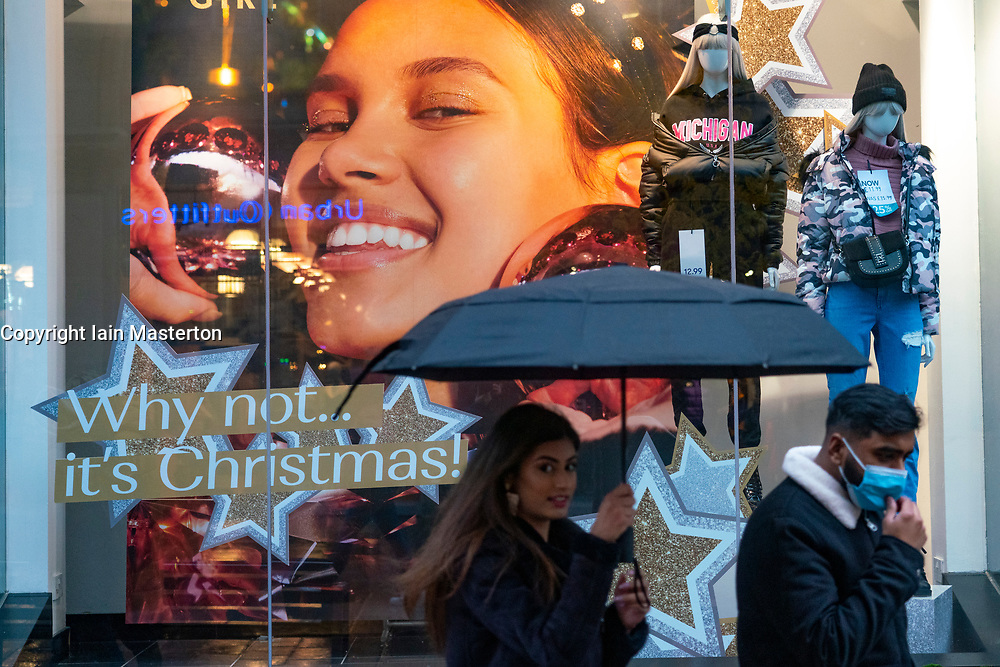 Glasgow, Scotland, UK. 1 November 2020. The Scottish Government today announced that from Friday 20 November, the most severe level 4 lockdown will be introduced in eleven Scottish council areas. This means non essential shops will close and bars, restaurants and cafes. Pictured; Christmas shop window display on Buchanan Street.  Iain Masterton/Alamy Live News