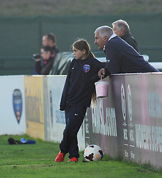 Bristol Academy Womens' ball girl and fan watching the first half. - Photo mandatory by-line: Nizaam Jones - Mobile: 07583 387221 - 04/10/2014 - SPORT - Football - Bristol - Stoke Gifford Stadium - BAWFC v Notts County Ladies - Sport
