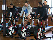 All Blacks Aaron Smith, Beauden Barrett and Lima Sopoaga during the All Blacks gym session at Les Mills, Wellington, in preparation for the 2nd test match between the All Blacks and the British & Irish Lions at Westpac Stadium, Wellington.    26   June   2017    New Zealand Herald photograph by Brett Phibbs