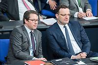 21 MAR 2019, BERLIN/GERMANY:<br /> Andreas Scheuer (L), CSU, Bundesverkehrsminister, und Jens Spahn (R), CDU, Bundesgesundheitsminister, Bundestagsdebatte zur Regierungserklaerung der Bundeskanzlerin zum Europaeischen Rat, Plenum, Deutscher Bundestag<br /> IMAGE: 20190321-01-039
