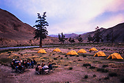 Tourists camping<br /> along Sagsai River<br /> Western Mongolia