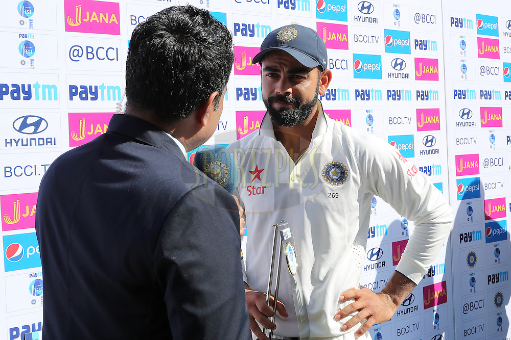 Virat Kohli Captain of India interviewed after the match during day 5 of the fourth test match between India and England held at the Wankhede Stadium, Mumbai on the 12th December 2016.<br /> <br /> Photo by: Ron Gaunt/ BCCI/ SPORTZPICS